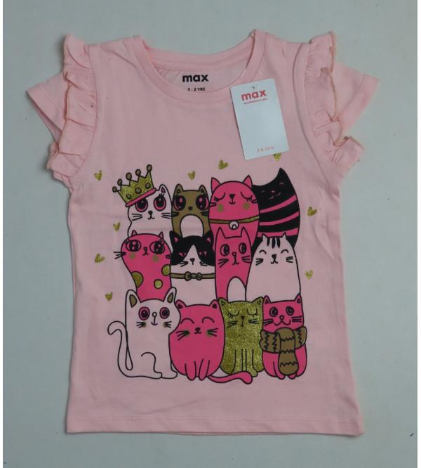 max Girls Glitter Printed T Shirt