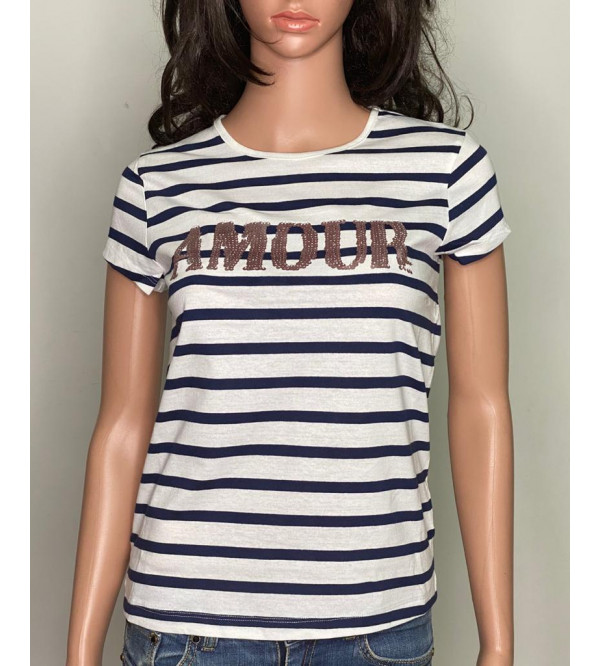 Girls Striped and Sequinned T Shirt