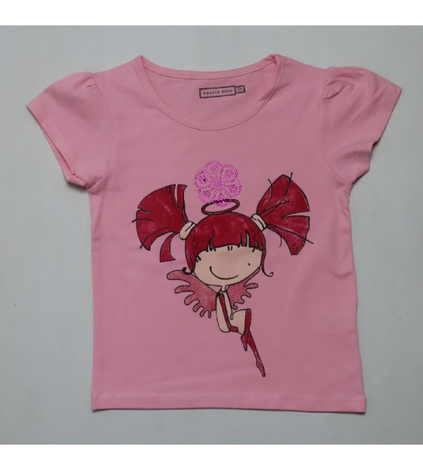 Girls Printed T Shirt with Stone work
