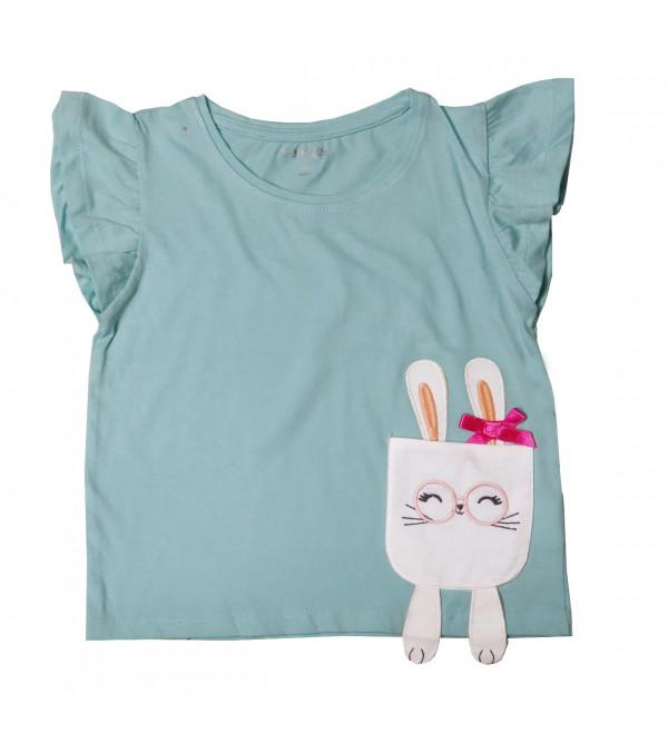 Girls Cap Sleeve Applique T Shirt
