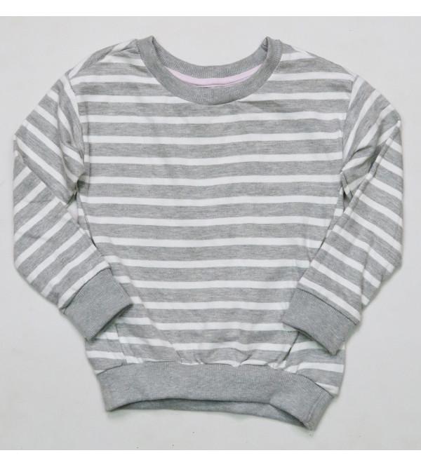Girls Striped Fleece Crew Neck Sweatshirt