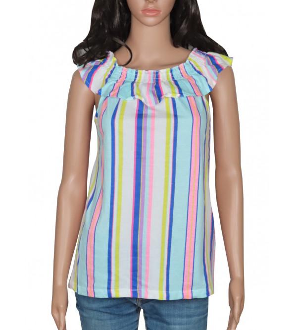 Older Girls Vertical Striped T Shirt
