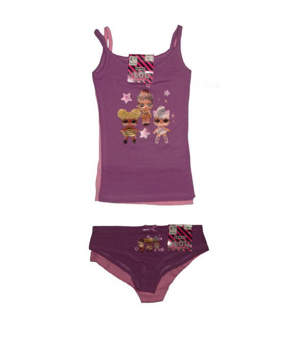 Character Printed Girls Innerwear 4 pcs set (2 Tanks + 2 Briefs)