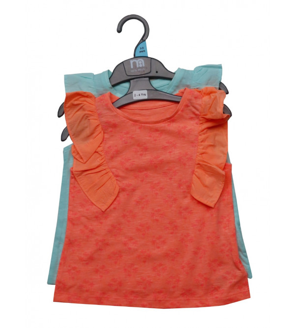 Girls 2 Pack Cap Sleeve Tops With Frill Trims