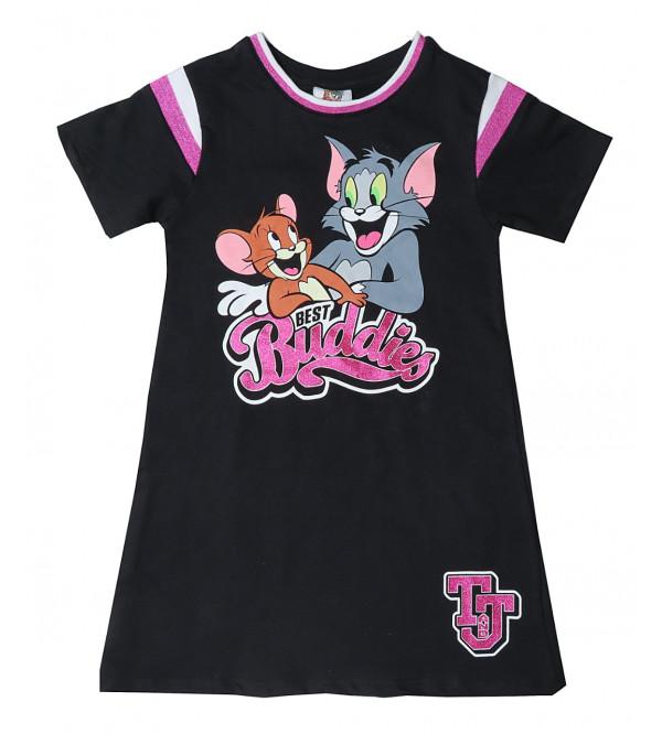 Tom and Jerry Girls Glitter Printed Nightshirt