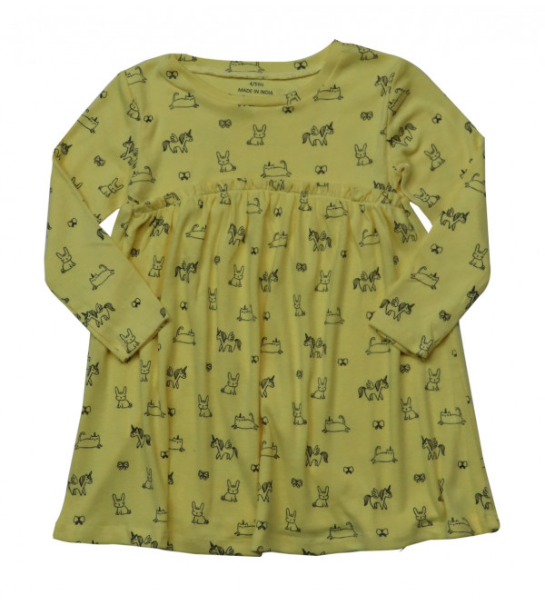 Girls Printed Long Sleeve Knit Dress