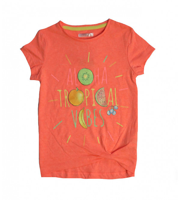 Tropical Vibes Girls Glitter Printed T Shirt