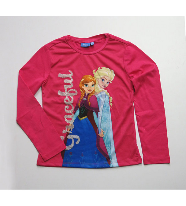 DiSNEY Girls Long Sleeve Glitter Printed T Shirts