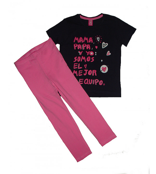 Girls Glitter Printed 2 Pcs Set (T Shirt + Leggings)