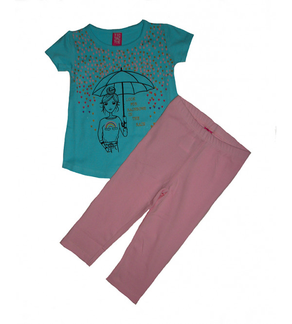 Girls Glitter Printed 2 Pcs Set (T Shirt + Leggings)