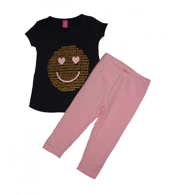 Baby Girls Glitter Printed 2 Pcs Set (T Shirt + Leggings)