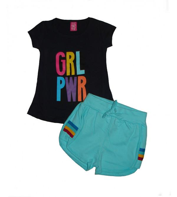 Girls Glitter Printed 2 Pcs Set (T Shirt + Shorts)