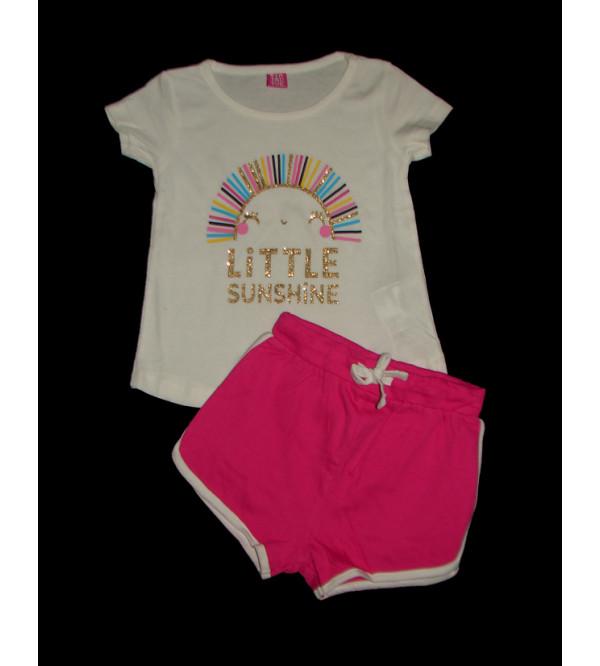 Girls Printed 2 pcs Set (T Shirt + Shorts)