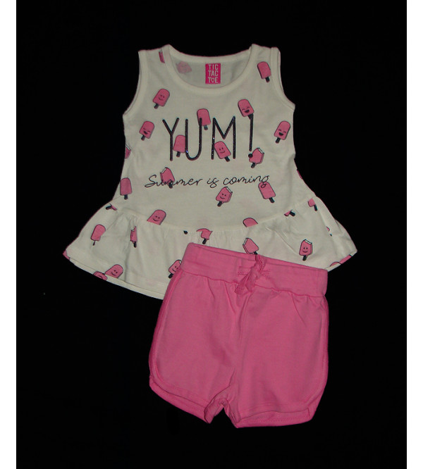 Girls Printed 2 pcs Set (T Shirt + Shorts)