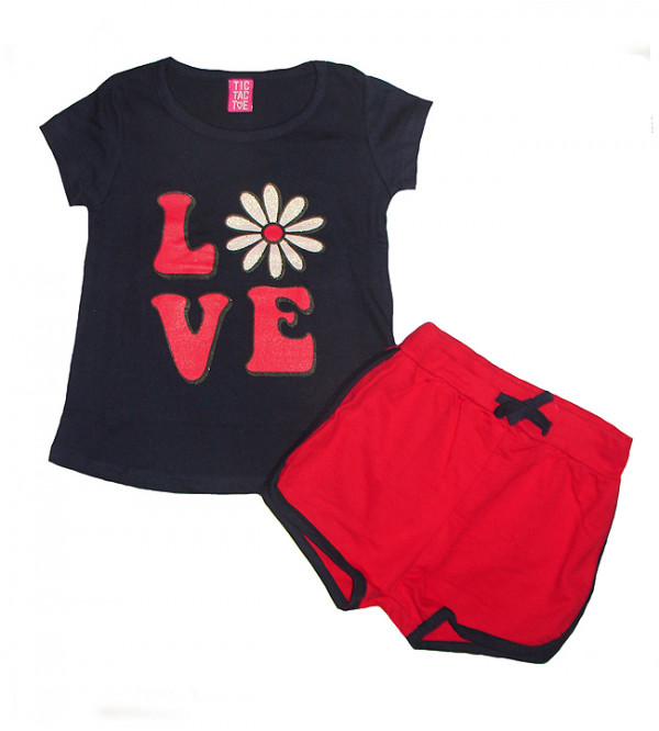 Baby Girls Printed 2 pcs Set (T Shirt + Shorts)