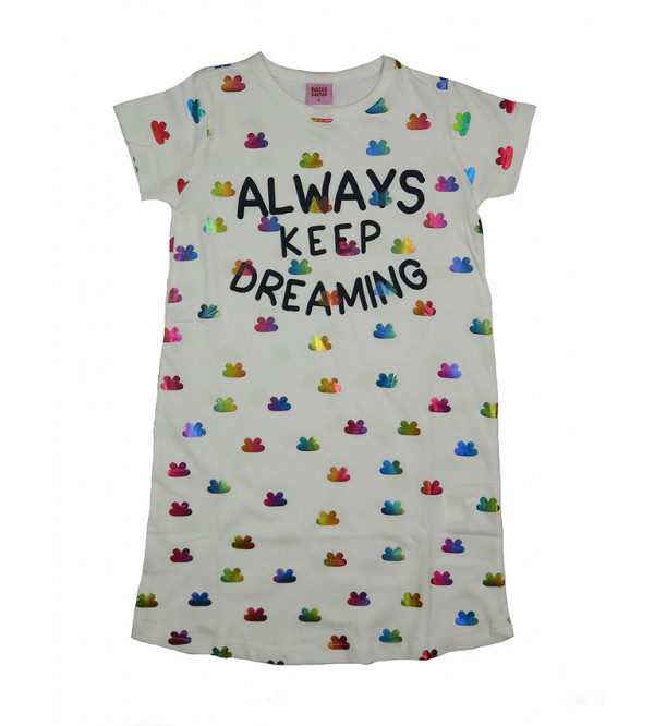 DREAMING FOIL PRINTED GIRLS KNIT DRESS
