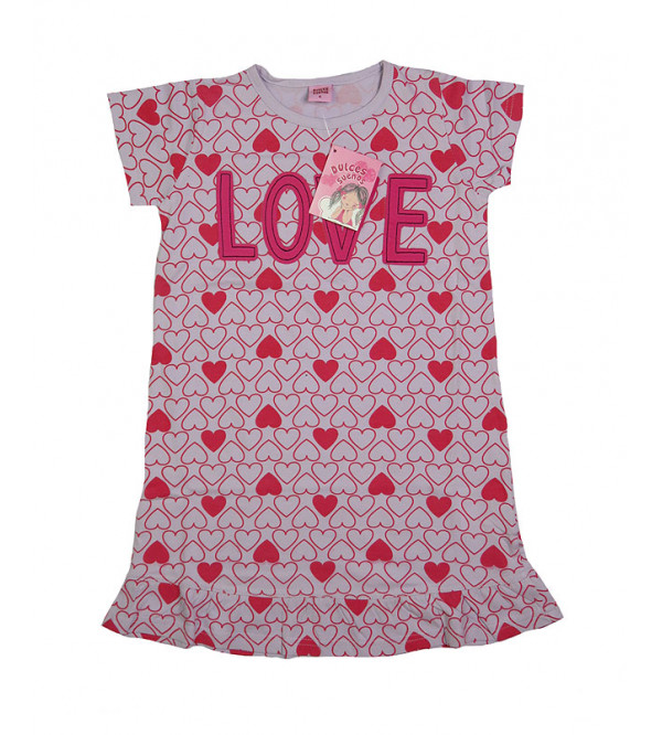 Love Print Girls Knit Dress