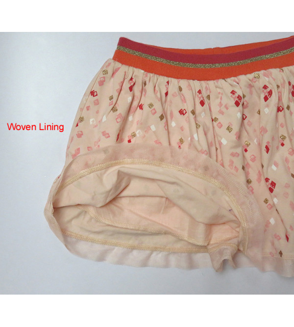 Girls Printed Knit Skirts With Lining