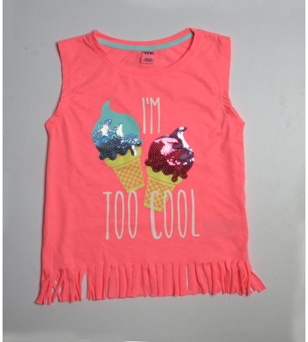 Sequinned and Printed Girls T Shirt