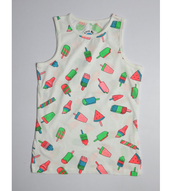 Ice Cream Print Girls Sleeveless T Shirts