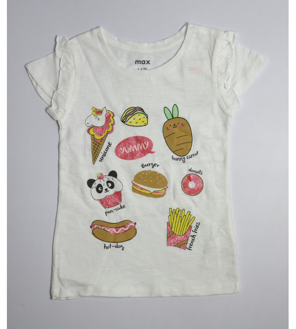 yummy Glitter print Girls  Slub T Shirt