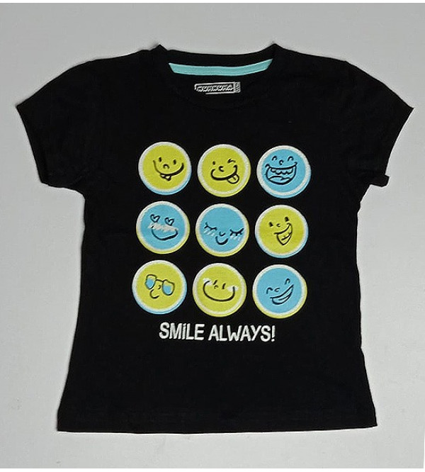 Smiley  Girls Glitter Printed T Shirts