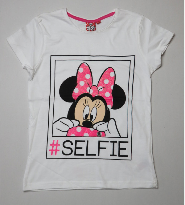 Minnie Mouse Glitter Printed Girls T-Shirt