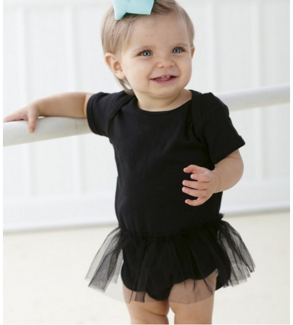 Baby Girls Shortsleeve Bodysuit (with lace trim)