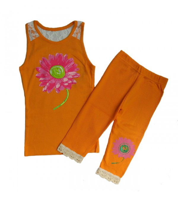 Girls Printed 2 pc Set (Sleeveless  top + Pant)