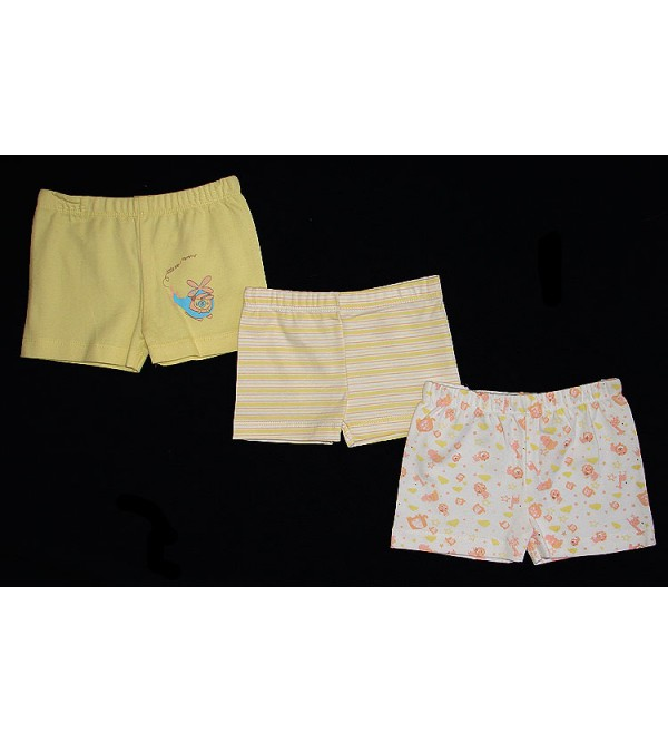 Baby Girls Printed Shorts (3 pc Pack)