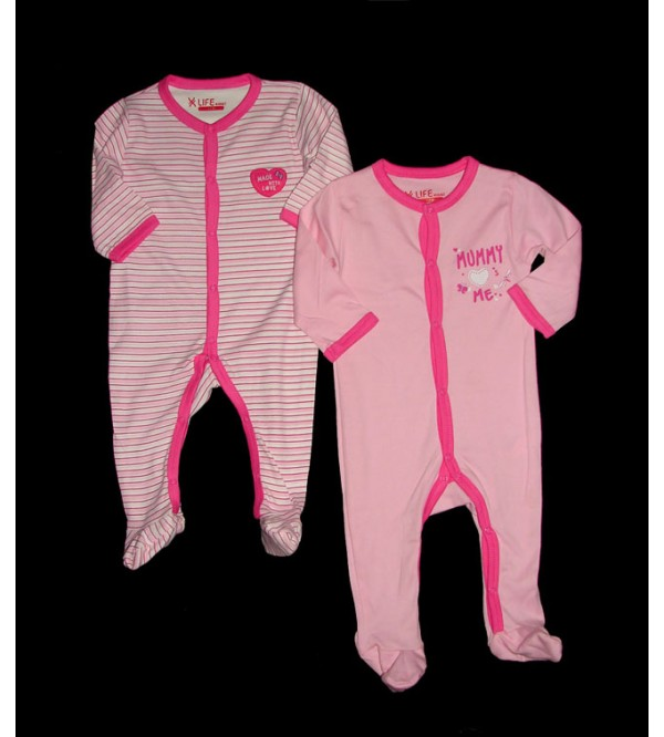 Baby Printed n Striped 2 pack Sleep suits