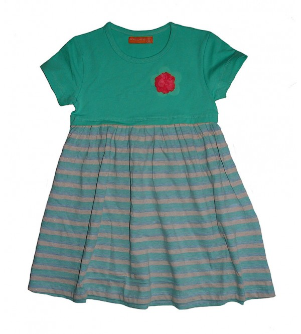 Girls Allover Printed and Striped Dress