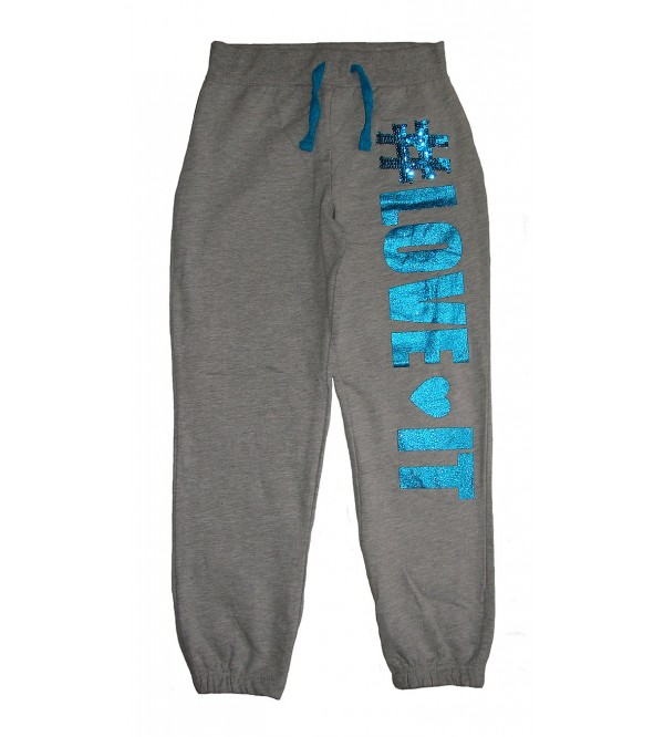 Girls Printed Knit Terry  Jogger Bottoms