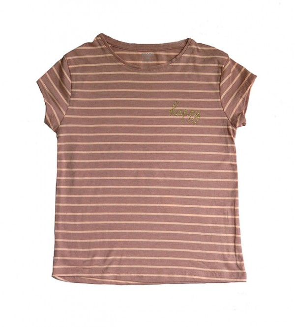 Girls Short Sleeve Striped T Shirt