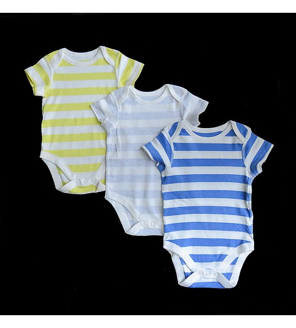 Baby Short Sleeve Striped Rompers