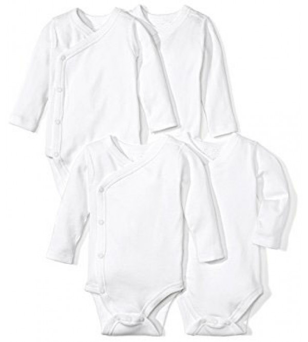 Baby 4 pc pack Long Sleeve White Bodysuits