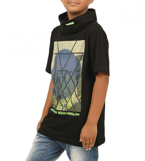 Boys Printed Cowl Neck T Shirt