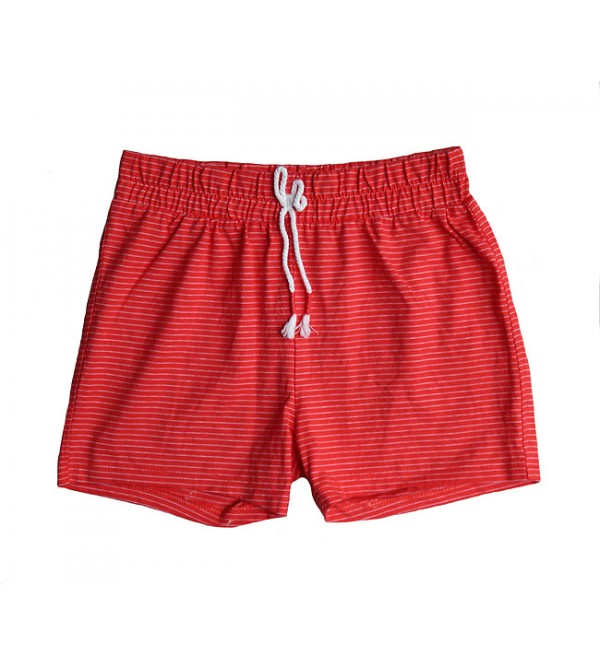 Girls knit striped shorts.