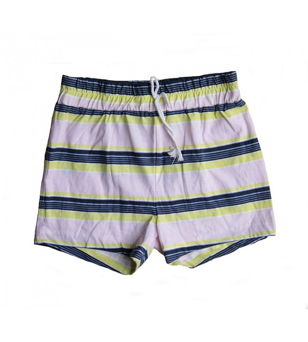 Girls knit striped shorts.