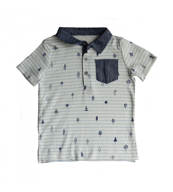 Baby Boys Printed Collar T Shirt
