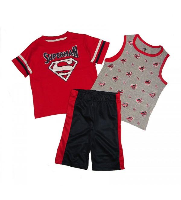 SUPERMAN Boys 3 pcs Shorty Sets (T Shirt + Vest + Shorts)