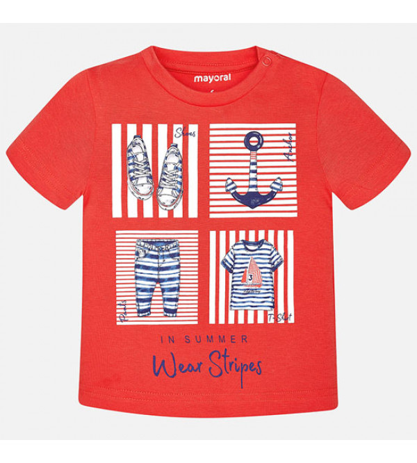 Baby Boys Short Sleeve Printed T Shirt
