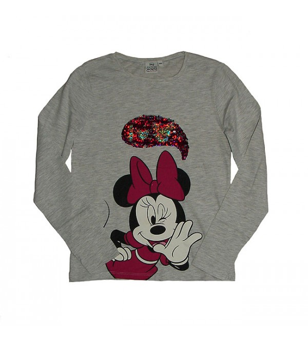 Minnie Mouse Girls Long Sleeve Printed and Sequinned T Shirt