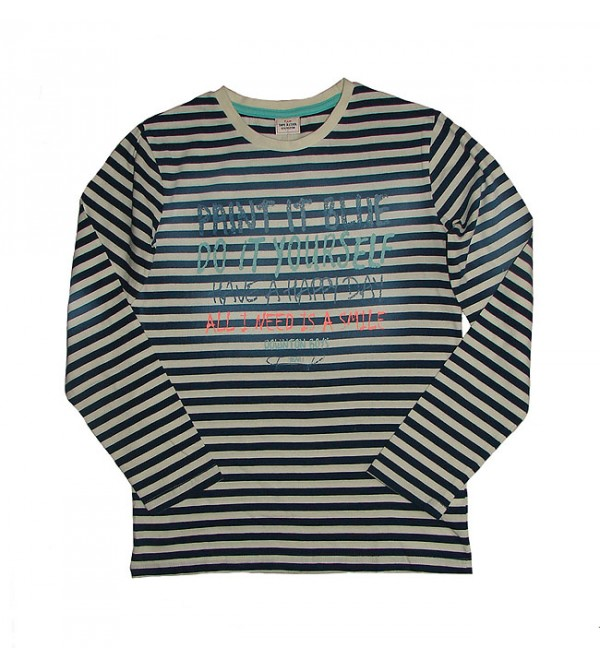 Boys Long Sleeve Striped and Printed T Shirt