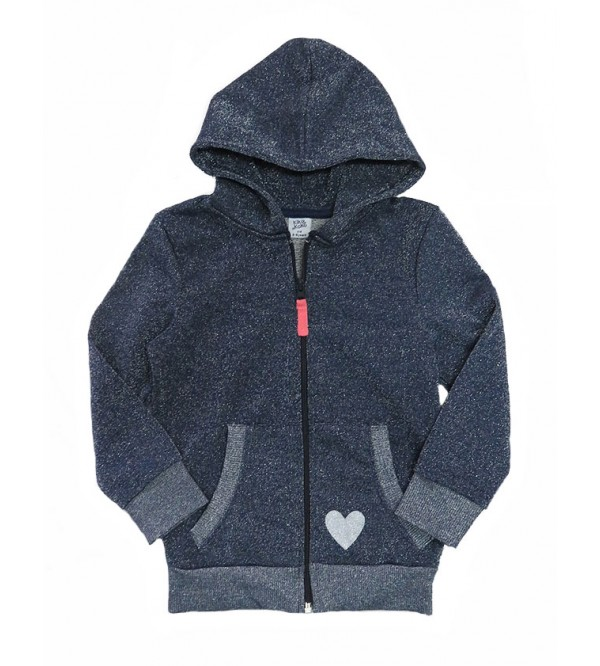 Girls Lurex Full Zipper Sweatshirt With Hoodie
