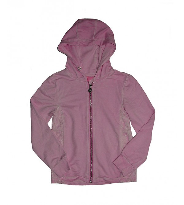 Girls Full Zipper Hooded Sweatshirt With Lace