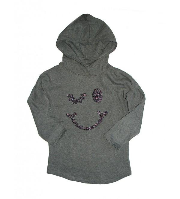Smiley Sequinned Girls Hooded Sweatshirt