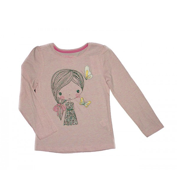 Girls Long Sleeve Glitter Printed T Shirt