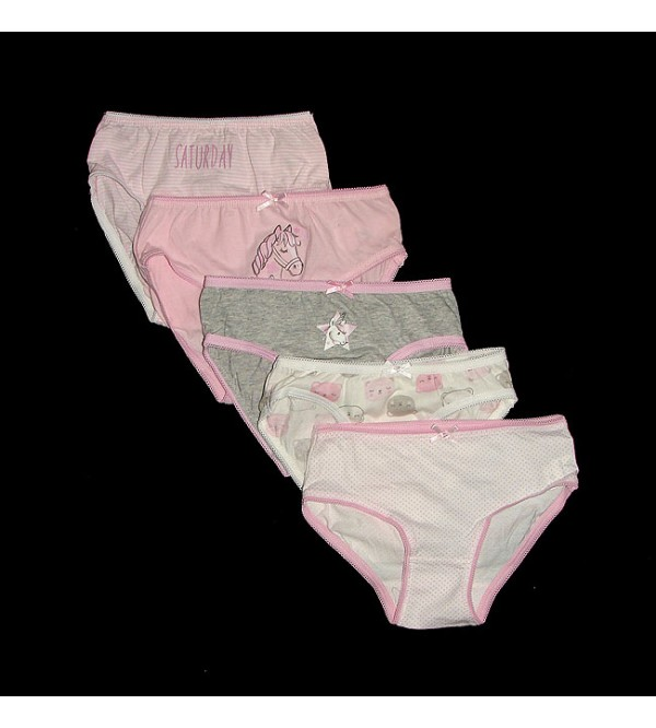 Girls Printed 5 pcs pack Briefs