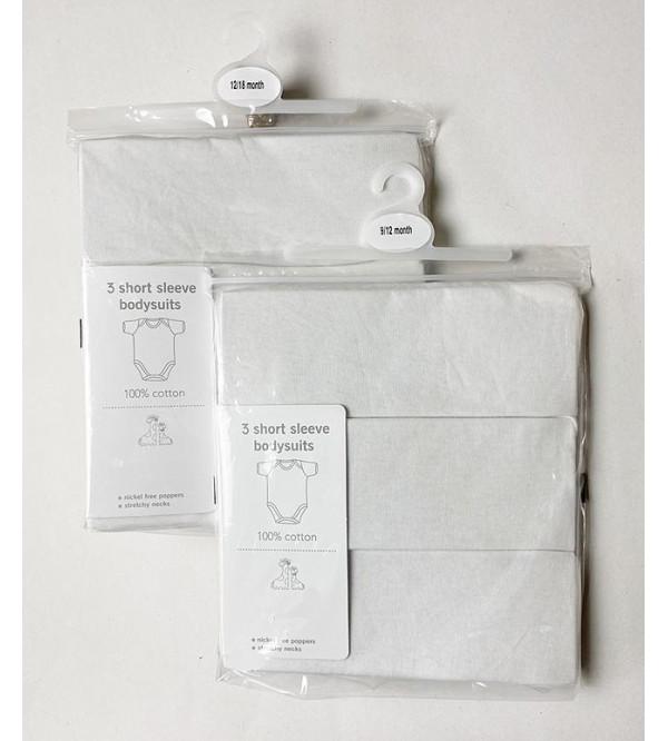 Baby 3 Pack White Short Sleeve Bodysuits